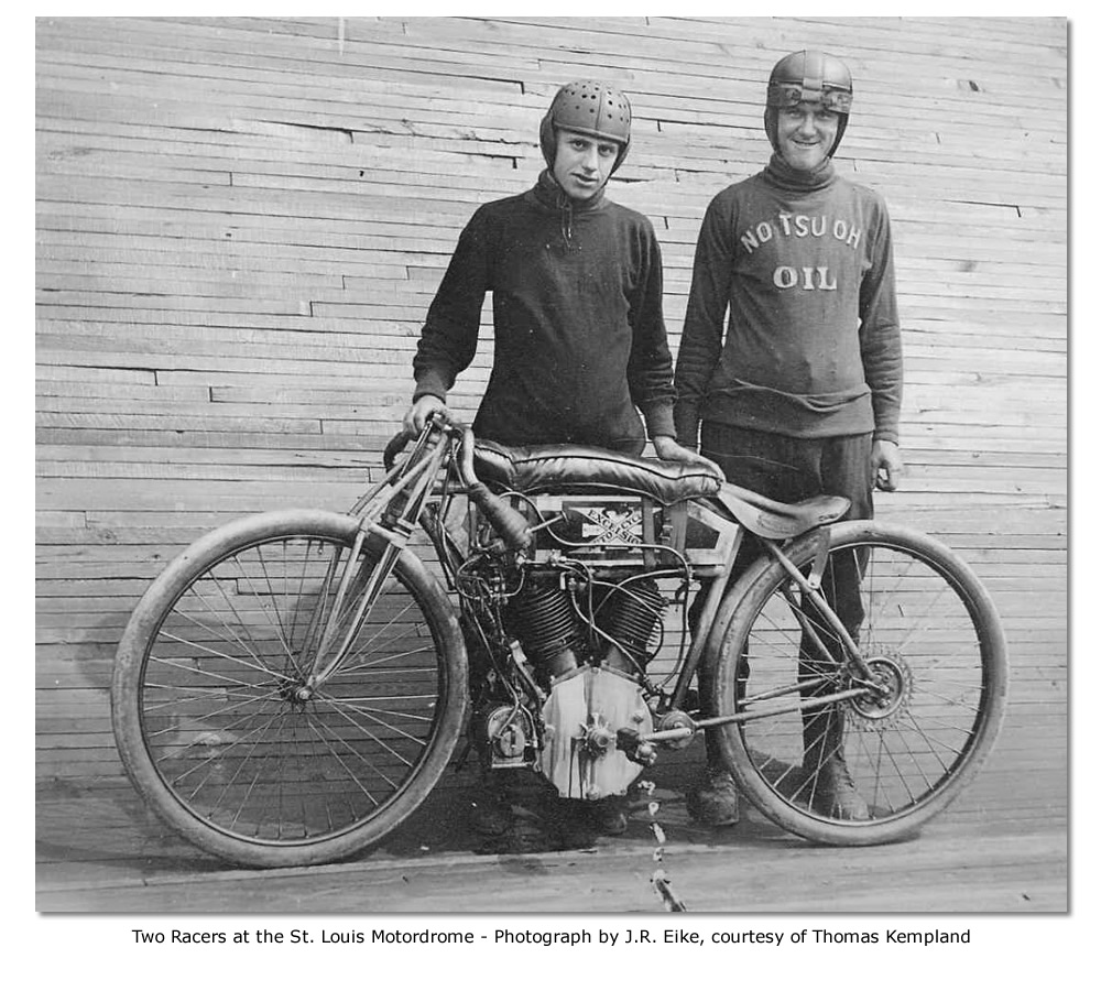 Board track racers at St. Louis Motordrome