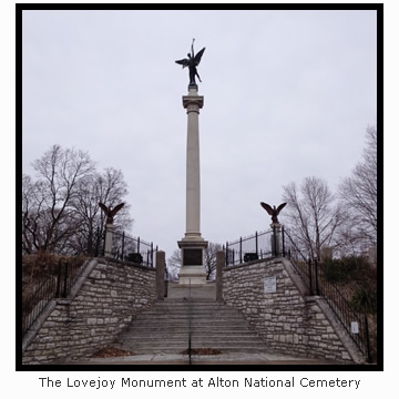 The Lovejoy Monument at Alton National Cemetery
