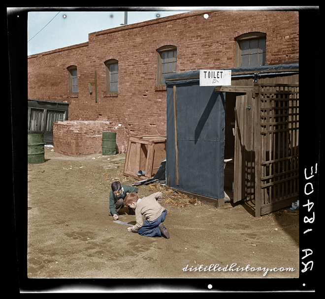 Colorized version of Boys Playing Marbles in an Alley