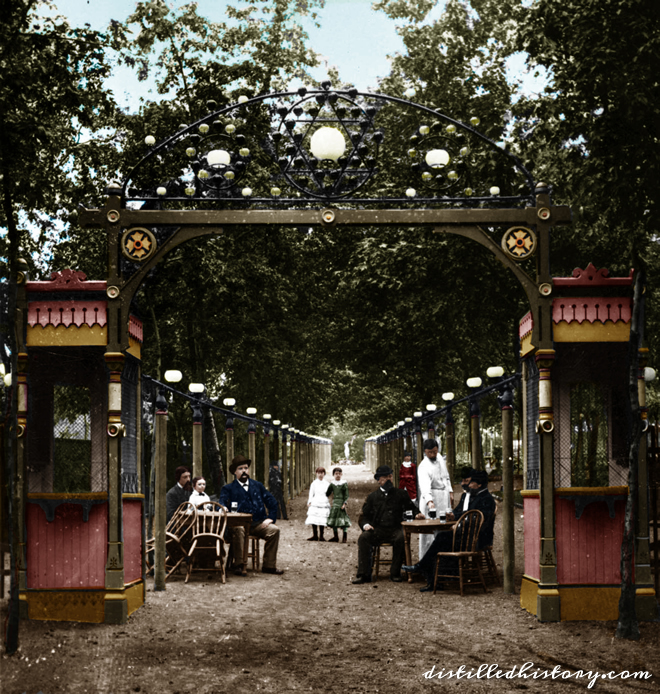 Colorization of Schnaider's Beer Garden Photograph
