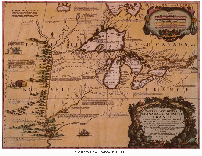 Map of western New France in 1688
