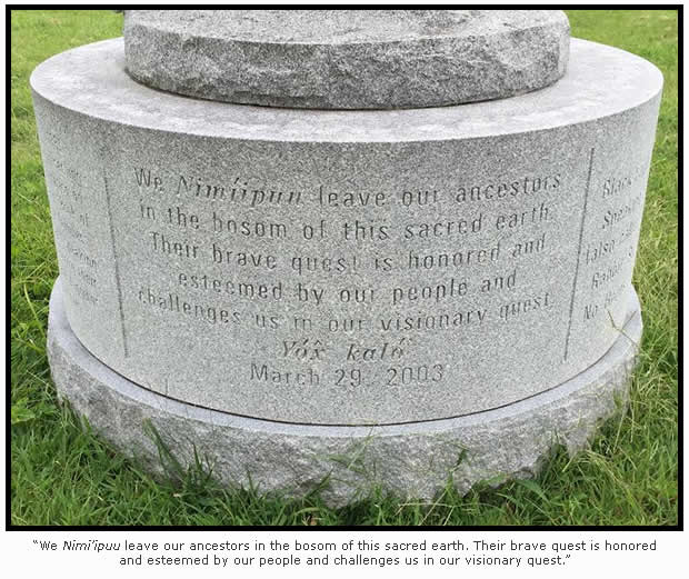 Nez Perce monument inscription