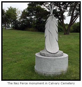 Nez Perce monument in Cavalry Cemetery